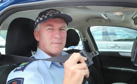 Senior Sergeant Scott Lacey reminding motorists about road safety. Photo: Inga Williams / The Reporter