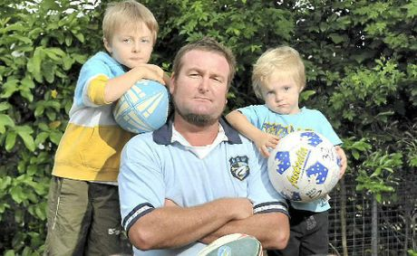 Paul Westwood from Nambour has banned his kids Harry, 5, and Luey, 3, from watching rugby league because of the gambling ads.