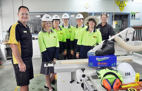 Mark Vincent, Sarah Whittiker, Lachlan Genrich, Anthony Bates, Ella Douglass, Brenton Peterson and Gavin Grantz are taking part in the Doorways2Construction program at Maryborough State High School.