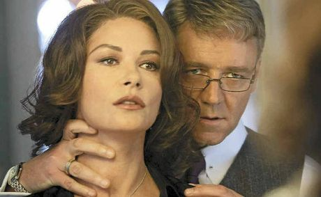 Russell Crowe and Catherine Zeta-Jones in a scene from the movie Broken City.