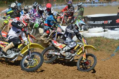 FLYING START: Cody Cooper (3) gets the jump on the MX1 field at Pukekohe on Sunday.