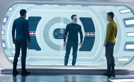From left, Zachary Quinto, Benedict Cumberbatch and Chris Pine in a scene from the movie Star Trek Into Darkness.