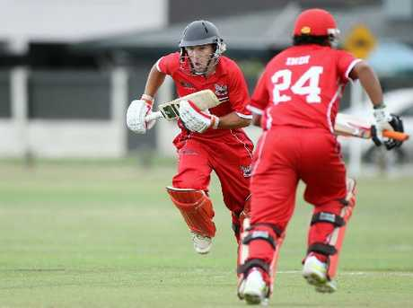 NTOB batsmen Bronson Meehan (facing) and Indika Senarathne will be on their toes. 
