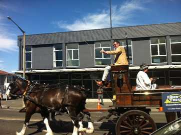 About a thousand people turned out to see the Horse of the Year parade through central Hastings today, with Olympic gold medalist Mark Todd at the lead.