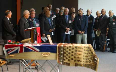 TRIBUTE: Maori returned servicemen and women sing a song in tribute to their comrade Aubrey Balzer. PHOTOS/STEPHEN PARKER 150313SP17