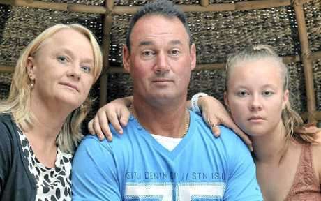 ROUGH JUSTICE: Bill Jaspers with wife Jenny and step-daughter Chelsea Palmer, 15, are disgusted Bill's attacker was not given jail time.