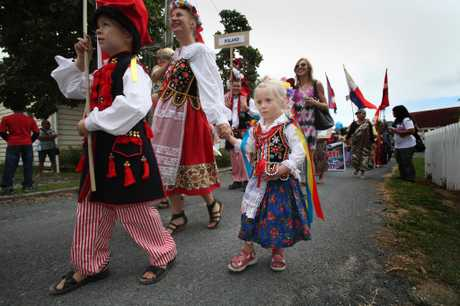 FESTIVAL FUN: Julia James, 3, was dressed in traditional Polish clothes as she marched in the cultural parade at the Tauranga Regional Multicultural Council Festival.