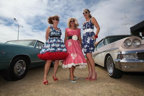 PIN-UP GIRLS: 'Angele', left, Kiwi fashion designer Trelise Cooper and Judith Pratt at the Classic Car Show.