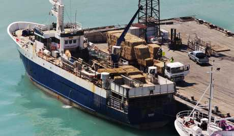 SAIL BALE: Emergency hay supplies being unloaded at Napier Port soon after arriving on the Baldur on Friday.