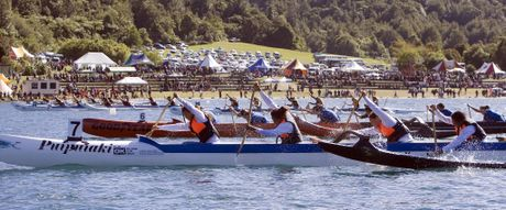 ALL-OUT ACTION: Waka ama crews will be going hell for leather in the ActivePost National Secondary Schools champs on Lake Tikitapu this week.