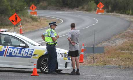 Police at the scene of a fatal shooting on Tram Road in the South Waikato. 