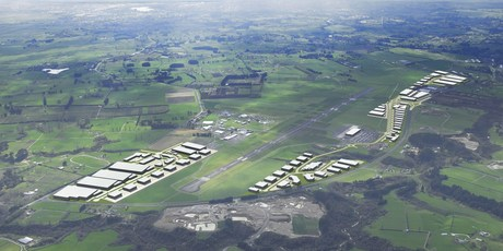 An artist's impression of an aerial view of the Titanium Park commercial and industrial development adjoining Hamilton airport.