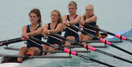 Kavanagh girls under 18 quad in the South Island championships. Left to right: Zoe McBride (stroke), Hannah Duggan, Caitlin Buist, Anna OLeary, Phoebe McBride(Cox).