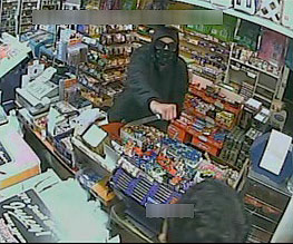 This knife-wielding robber got away with nothing after he attempted to hold up the Woodham Rd Dairy in Dallington on Monday.