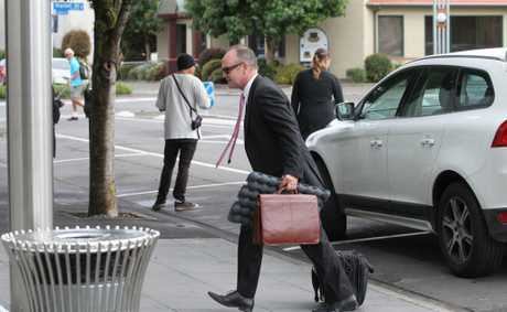 Hawk Packaging counsel Magnus Macfarlane arriving at Hastings District Court yesterday.