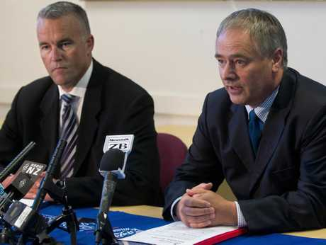 Detective Inspectors Tim Anderson (left) and Mark Loper speaking at a press conference in Taupo yesterday.