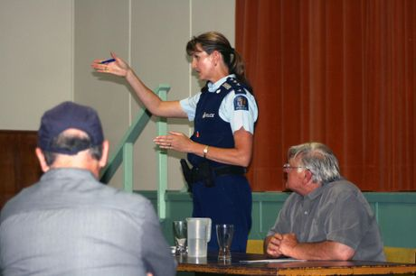 Whangarei/Kaipara area area commander Inspector Tracy Phillips assures the residents at a public meeting that a full police investigation is underway.