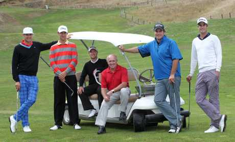 Daniel Pearce, Pieter Zwart, Leighton James, Brian Doyle (coach), Doug Holloway, Nick Gillespie - Hawke's Bay golfers pictured at the golf course at Hill Country Estate, Havelock North