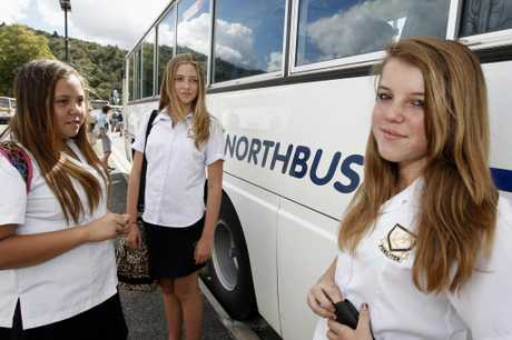 Puke Hau, 13 (left), Samantha Calver, 14, and Caitlyn Burrell, 12, all pitched in to help their injured bus driver after a pipe smashed through the windscreen.