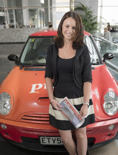 Cancer survivor Naomi McRae will drive her own Mini in the Pork Pie Charity Run. Naomi's employer, PwC, has the car on display.