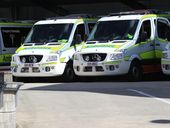 QFRA attended Nambour General Hospital after reports of contamination. A fire truck at Nambour Hospital and ramping of Queensland Ambulance vehicles. Photo Jason Dougherty / Sunshine Coast Daily