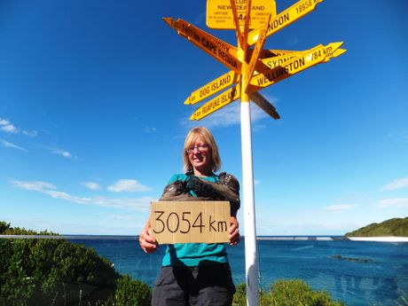 Linda Donaldson finally gets those boots off after covering 3054km walking from Cape Reinga to Bluff on the Te Araroa Trail.