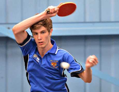 OPEN CHAMP: Townsville's David Fielding hits out to defeat Steven Mitchell for the Mackay Open table tennis title.