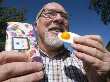 ARTY EGG: Schoc Chocolates owner Murray Langham and a Schocolart egg.