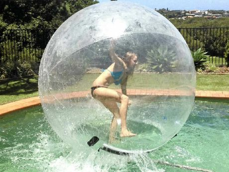 LOTS OF FUN: Sarah Short, of Ballina, in the Zorb ball.