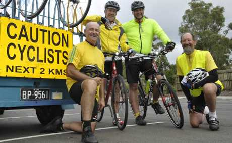 David Mansfield, Ross Anderson, Tom Henderson and Ron Balderston were weary but happy after arriving in Toowoomba.