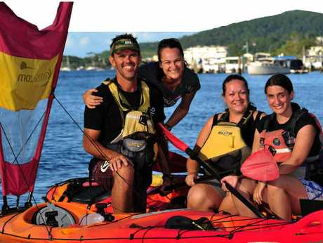 LOW IMPACT: Rod and Cath Withyman (left), from Kayak Noosa, celebrate with clients Hayley Pearce and Becky Lumsden, from the UK, as their eco credentials are recognised with an Advanced Ecotourism certification.