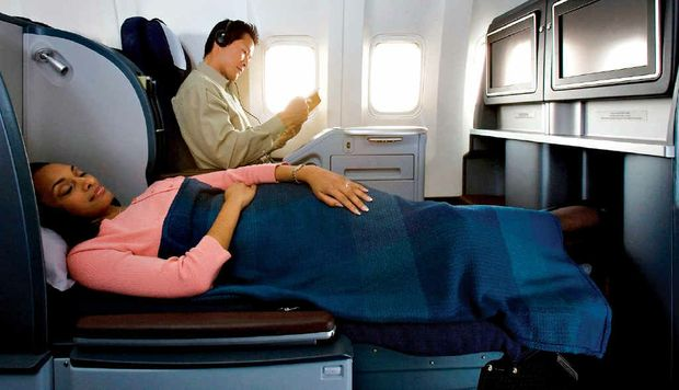 A business class flat bed on United Airlines.