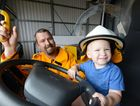 Shane Ellem &amp; son Hunter get set for the Branyan Rual fire brigade fun day on Saturday.