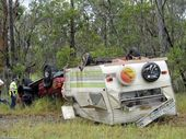 PARAMEDICS are at the scene of a rollover on the Bruce Highway near Torbanlea that has caused traffic to back up 10kms in each direction.