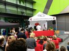 Celebrity chef Matt Golinski won over the crowd at his first public cooking demonstration since suffering a family tragedy that almost claimed his life too.
