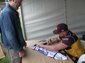The Dalby Leagues Club was packed on Saturday as fans converged on the grounds to get a photo with their favourite player.