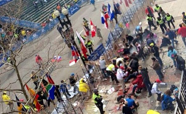 The chaotic scenes at the Boston Marathon after two explosions.