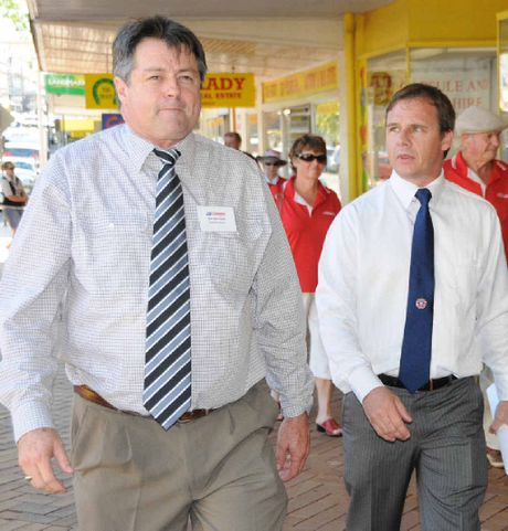 Katter's Australian Party candidate for Wide Bay Gordon Dale with Greg Freeleagus in Mary St.