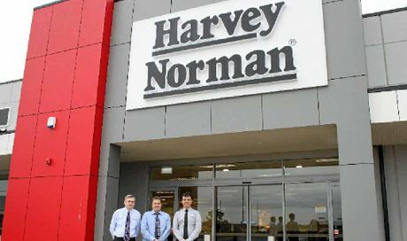READY TO OPEN: Harvey Norman will open its doors in Emerald on Monday. Franchisees Rod Easy, Daniel Reid, Jarrod Wicks are looking forward to the first day.