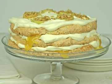 Feijoa and Walnut Meringue cake