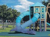 A children's playground featuring two pieces of equipment never seen before in New Zealand will start construction next week on Tauranga's downtown waterfront.