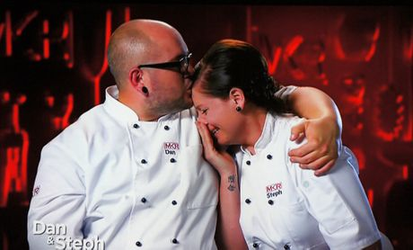 Tears of joy: Dan and Steph Mulheron win My Kitchen Rules.