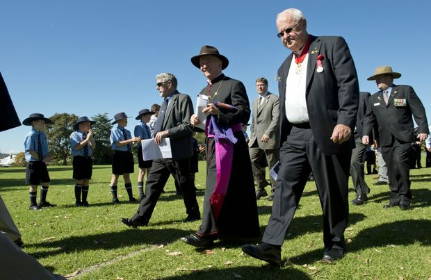 Bishop Robert McGuckin at the St Mary's College Anzac Day ceremony.