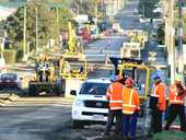 Downer contractors prepare Alexandra Street outside Te Awamutu College for new seal.