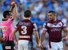 MAGIC SPRAY: Enough is enough, says Trent Slatter - referees need to take immediate action on ugly tackles, like those of Manly on Greg Inglis.