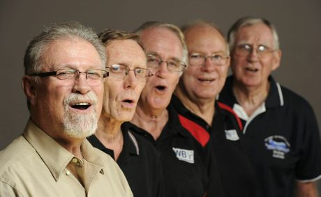 Jim de Busman puts Kevin Prout, Gordon Dryden, Howard Kennedy and Trevor Remphry from the Miner Chords through their vocal scales ahead of the barbershop National Titles.