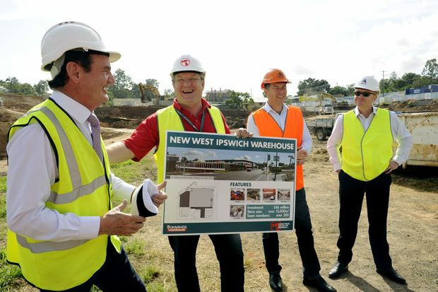 Mayor paul Pisasale, PJ Davis COO of Bunnings, Cr Andrew Antoniolli and Simon Hawkins of ADCO, at the launch of the new West Ipswich Bunnings on the corner of Clay and Brisbane Sts. Photo: Claudia Baxter / The Queensland Times