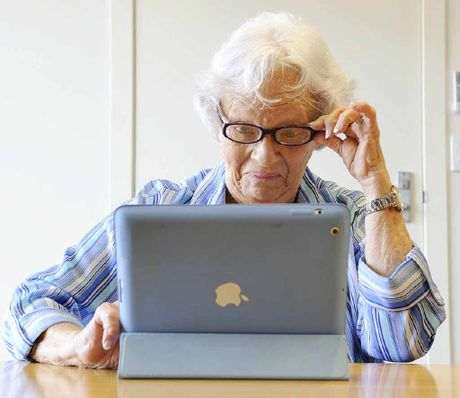 TECH-SAVVY: Vi Jorgensen looks at her new iPad.