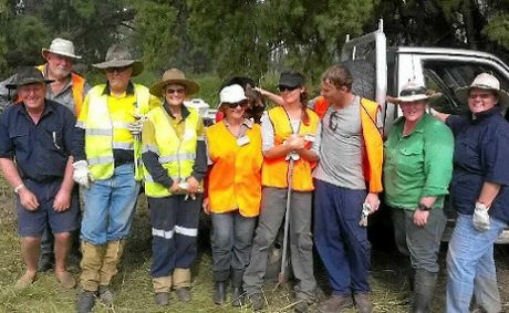 TEAM WORK: Blaze Aid volunteers based in Wowan-Dululu helped Callide Valley farmers mend fencing after summer's floods.