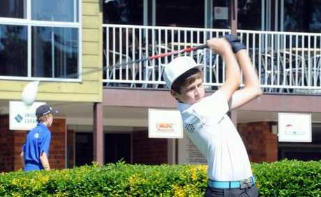 Maryborough Golf Club B-grade champion Harry Law tees off on the tenth hole on Saturday.